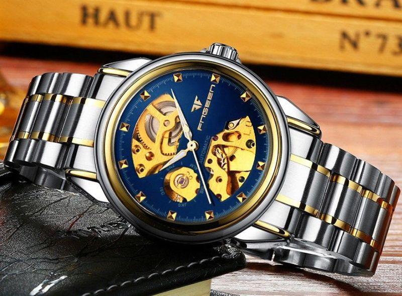 Механічні наручні годинники FNGEEN Relogio Masculino скелетоны Синьо-золоті