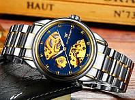 Механічні наручні годинники FNGEEN Relogio Masculino скелетоны Синьо-золоті, фото 1