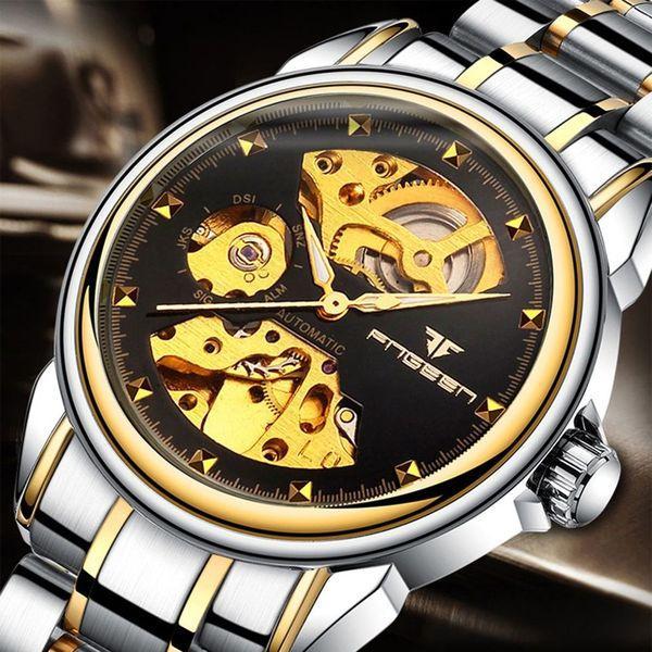 Механические наручные часы FNGEEN Relogio Masculino скелетоны черные-золотые