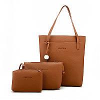Женская сумка в наборе 3в1 + мини сумочка и клатч рыжий, фото 1