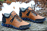 Кроссовки зимние кожа ботинки полуботинки Columbia Коламбия реплика мужские коричневые (Код: М286а)