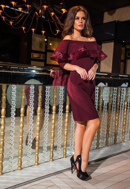 b3c74ced3b02 Женское модное платье волан   креп + органза - Интернет-магазин «Модная».