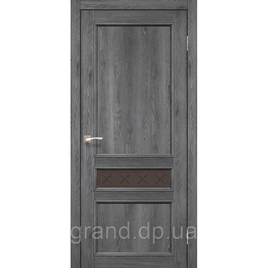 Двери межкомнатные Корфад CL-07 цвет дуб марсала с матовым стеклом