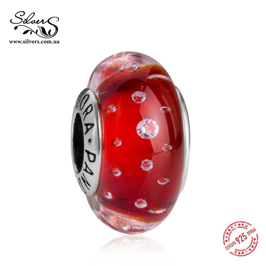 Серебряная подвеска шарм Пандора Красное Мурано 978
