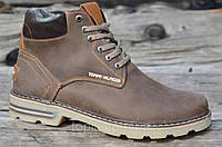 Ботинки мужские зимние коричневые, матовые натуральная кожа, шерсть, мех прошиты 2017 (Код: М920)