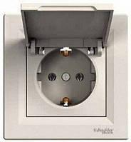 Розетка Schneider-Electric Asfora с крышкой, с заземлением кремовая EPH3100123