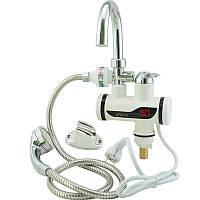 Проточный водонагреватель на кран, электронагреватель проточной воды, нагреватель воды на кран, 1002623 с душем