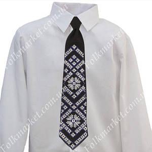 Синий галстук с вышивкой для мальчика 4-6 класс