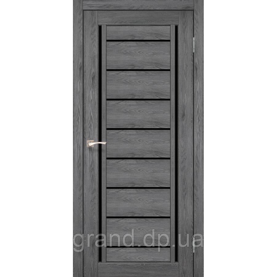 Двери межкомнатные Корфад VENECIA DELUXE Модель: VND-01 цвет дуб марсала с черным стеклом