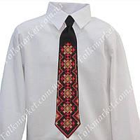 Красный галстук с вышивкой для мальчика 4-6 класс