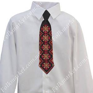 Красный галстук с вышивкой для мальчика 1-4 класс