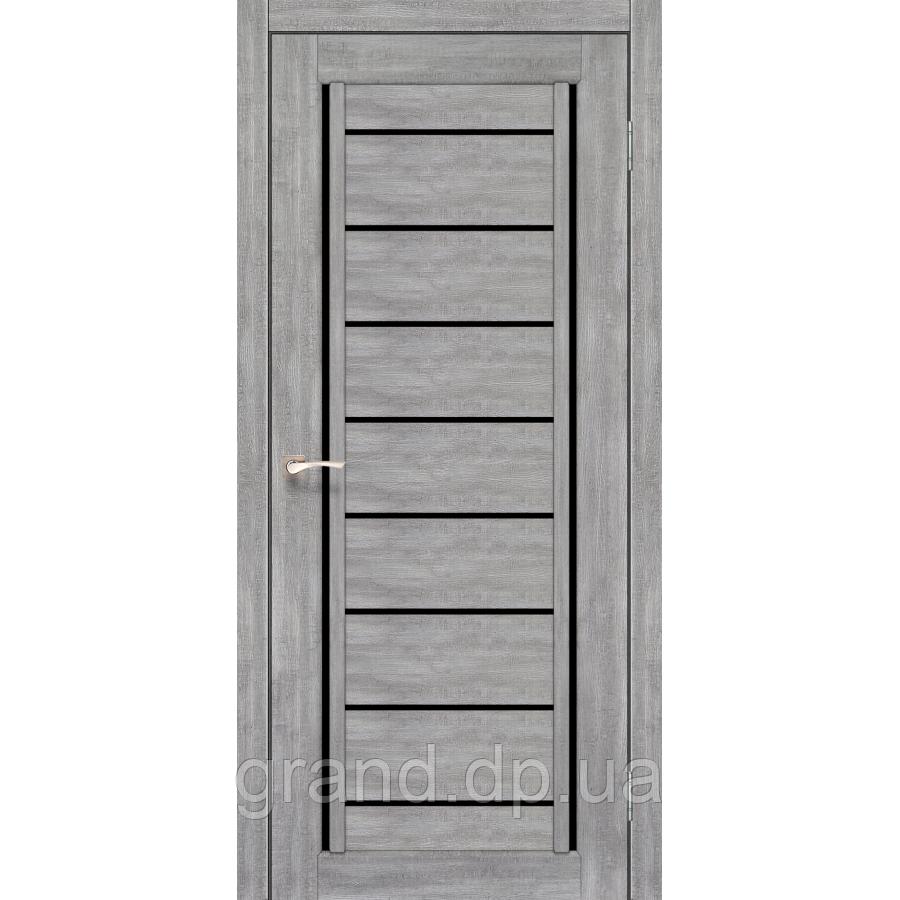 Двери межкомнатные Корфад VENECIA DELUXE Модель: VND-01 цвет эш вайт с черным стеклом