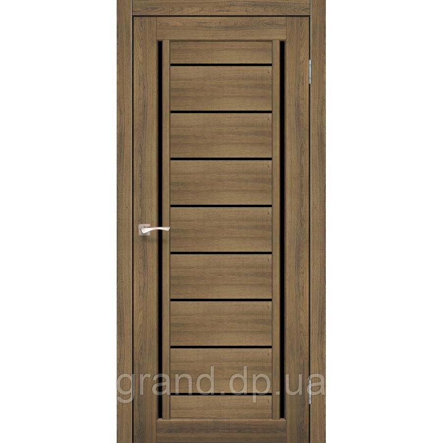 Двери межкомнатные Корфад VENECIA DELUXE Модель: VND-01 цвет дуб браш с черным стеклом