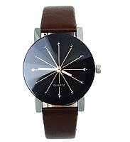 Наручные кварцевые часы с коричневым ремешком код 153