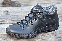 Мужские зимние спортивные ботинки низкие черные натуральная кожа прошиты Харьков 2017 (Код: М942)