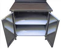 Стол тумба из нержавеющей стали с распашными дверями,размер 600x600x850