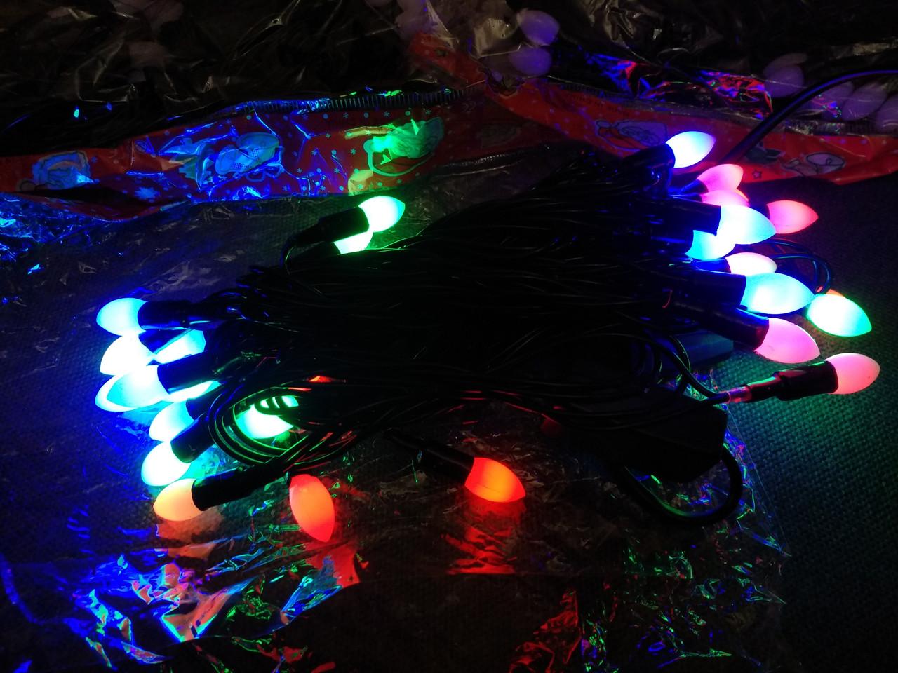 Гирлянда свечи матовые (фигура) 30 л. LED светодиодная 4 м.