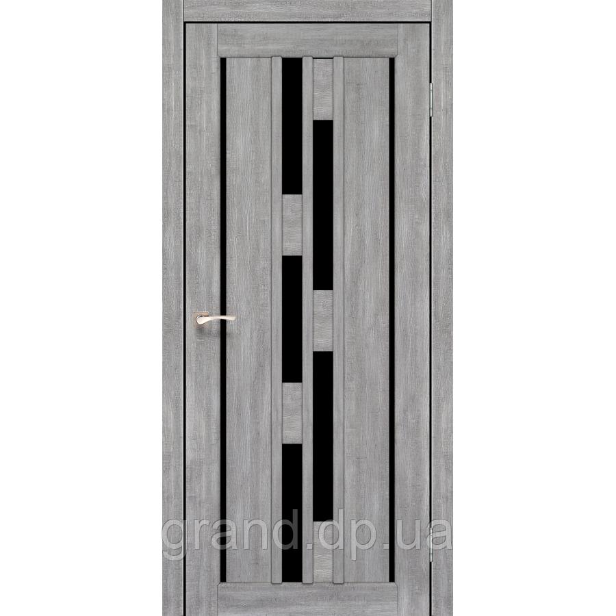 Двери межкомнатныеКорфад  VENECIA DELUXE Модель: VND-05 эш вайт с черным стеклом