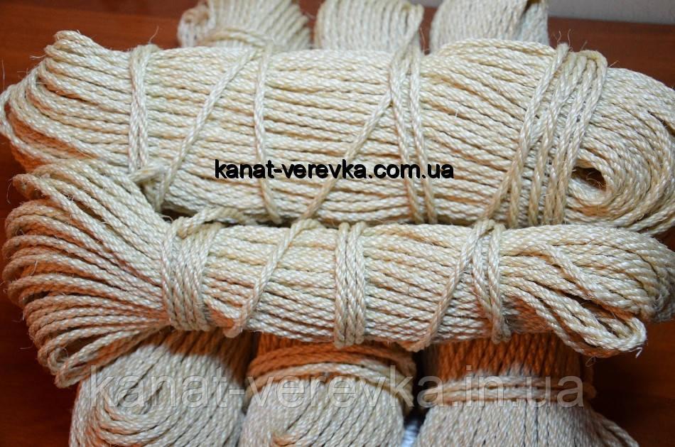 Веревка, канат сизалевый светлый 6 мм - 100 м
