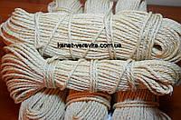 Веревка, канат сизалевый светлый 6 мм - 50 м