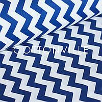 Бязь Зигзаги синие, фото 1