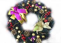 Новогодний Рождественский Венок Декоративный Хвойный Веночек на Двери из Хвои 50 см