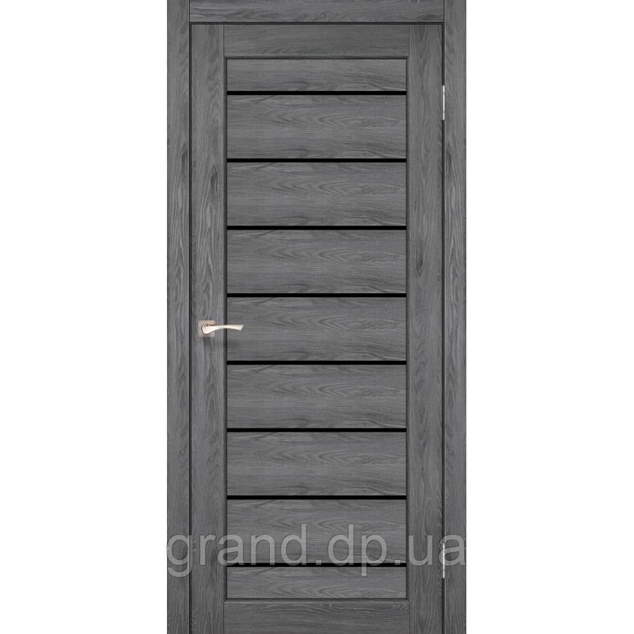 Двери межкомнатные Корфад PIANO DELUXE Модель: PND-01 дуб марсала с черным стеклом