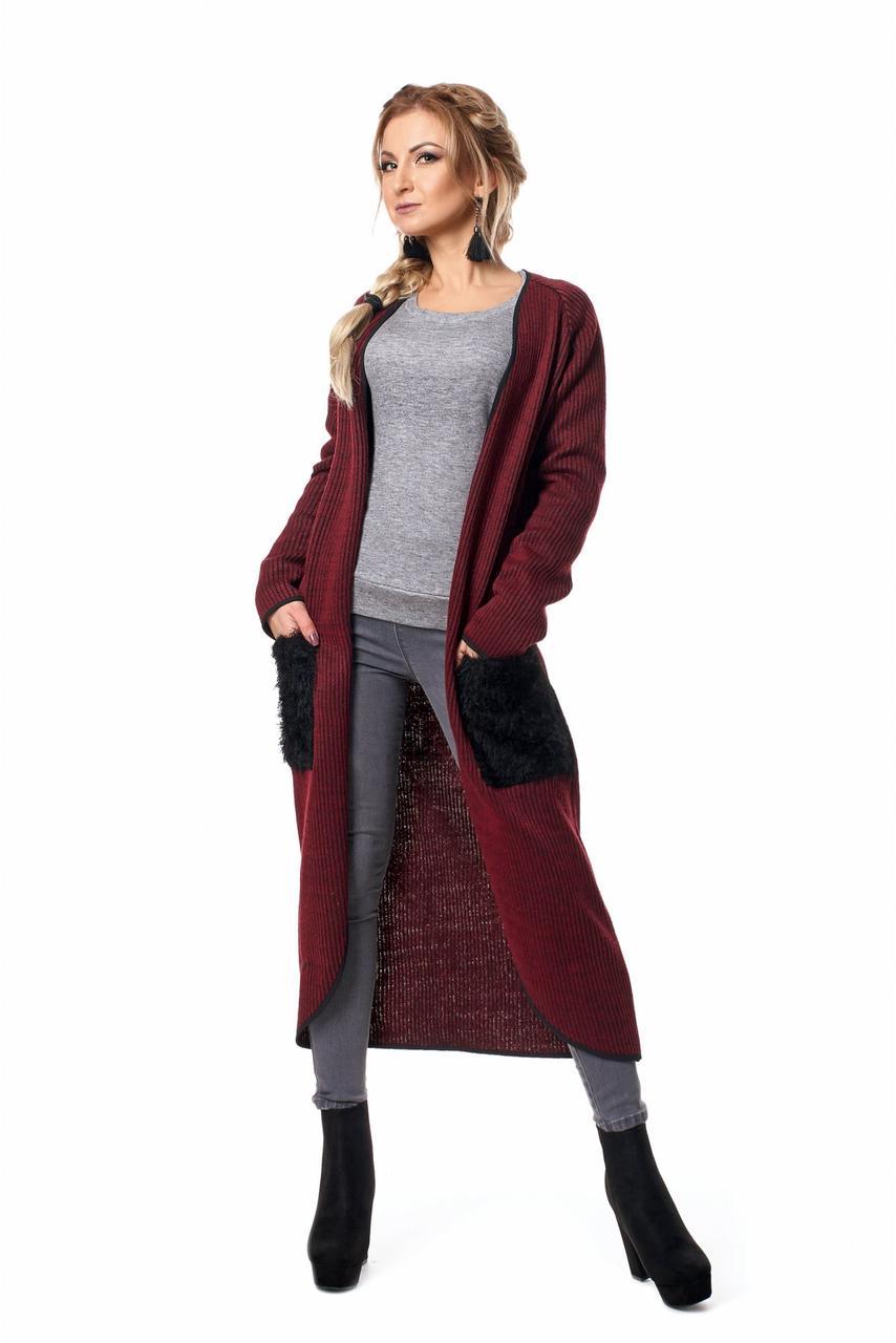 Модный женский оригинальный кардиган с карманами из травки 42-44
