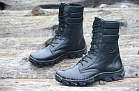 Зимние мужские высокие ботинки, берцы натуральная кожа, прошиты высокая подошва черные (Код: М956а)