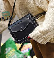 Классическая маленькая женская сумка через плече/на плече черная