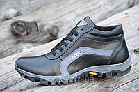 Мужские зимние спортивные ботинки, кроссовки натуральная кожа черные толстая подошва полиуретан (Код: М964)