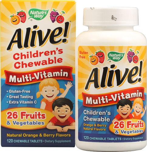 Nature's Way Alive!® Children's Chewable Multi-Vitamin Orange and Berry 120 шт