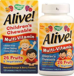 Nature's Way Alive!® Children's Chewable Multi-Vitamin Orange and Berry 120 шт