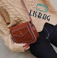 Классическая маленькая женская сумка через плече/на плече шоколад