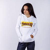 Толстовка белая с принтом Thrasher   Худи трэшер, фото 1