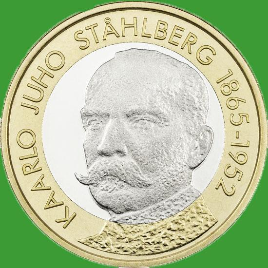 Финляндия 5 евро 2016 г. Президент Юхо Стольберг.