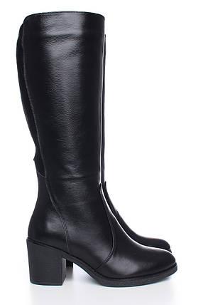 Кожаные сапоги черного цвета на каблуке оптом, фото 2
