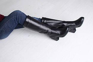 Кожаные сапоги черного цвета на каблуке оптом, фото 3