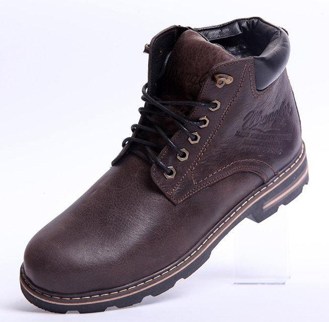 2583c8c9e Кожаные мужские зимние ботинки Wrangler Aviator, коричневые - Интернет  магазин