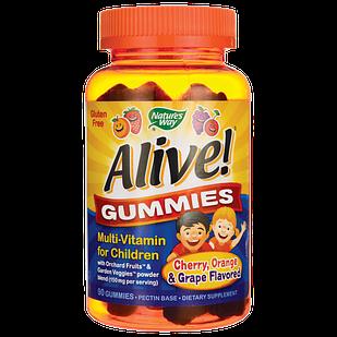 Nature's Way Alive!® Gummies Multi-Vitamin for Children Natural Black Grape and Orange на пектині 90 шт
