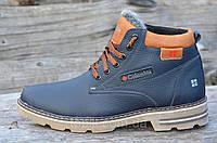 Зимние мужские ботинки, полуботинки темно синие с коричневым натуральная кожа, мех (Код: М974)
