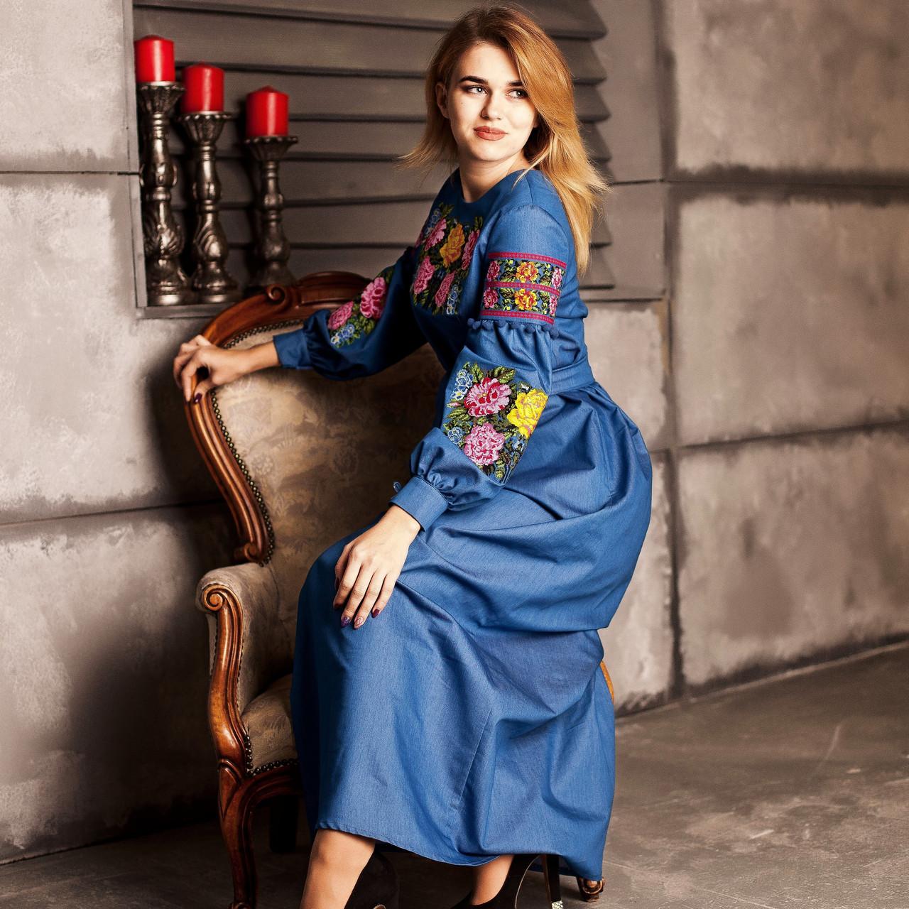 Вишите плаття Багата троянда (джинс) 8641c79fa2234