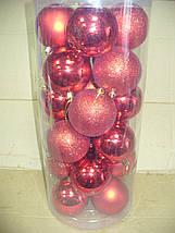 Елочные шары 24 шт. в упаковке ( диаметр 8 см ) ассорти, фото 3