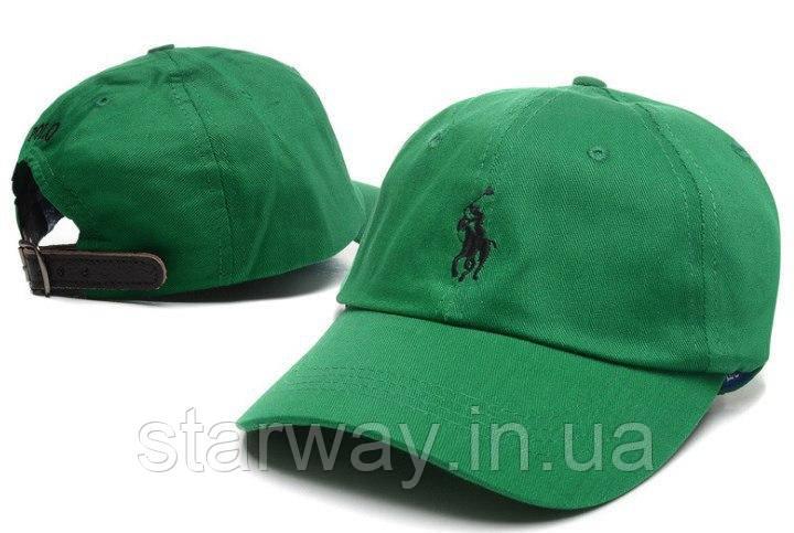 Зеленая кепка Polo лого вышивка