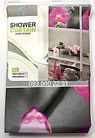 """Занавеска для душа,виниловая ,матовая Home Fashion 180х180 """"Орхидея"""" цвет серый,розовый, фото 1"""