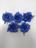Цветы из ткани для рукоделия/розы из ткани синие