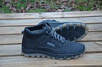 Мужские кожаные зимние кроссовки ботинки Ecco