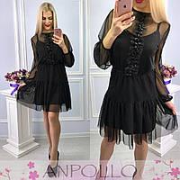 Короткое черное платье из шелка с сеткой 17PL573, фото 1