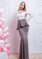 Длинное вечернее платье - рыбка с баской и гипюром 66PL578