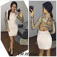 Короткое платье с рукавами из пайеток и вырезом на спине 11PL574